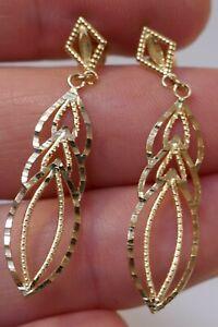 Vintage 14kt Yellow Gold Diamond Cut Drop / Dangle Earrings - 1.1 Grams
