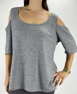 CITY CHIC Grey Marl Cold Shoulder 1/2 Sleeve Top Plus Size M AU 18 Casual Basic