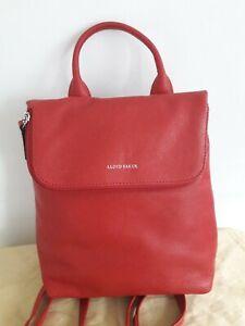 Lloyd Baker Red Leather Backpack Rucksack Fold down zipped top 30cm x 26 cm