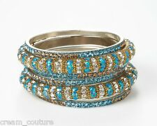 Chamak by Priya Kakkar Set Of 6 Blue & Gold Crystal Bangles NEW MSRP $102
