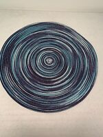Round Placemats Woven Blue Tones Dining Table Set 2 15 inches Wide