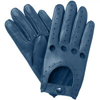 NEW MEN'S CHAUFFEUR REAL LAMBSKIN SHEEP NAPPA LEATHER DRIVING GLOVES - GREY-