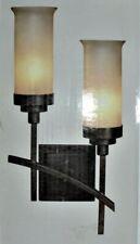 "Hampton Bay ""APPLIQUE"" WALL SCONCE 2-Light IRON OXIDE FIXTURE Venetian Glass"