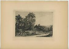 ANTIQUE FARMING FARM PLOUGHS GARDEN FURROW PATH NATURE TREES ETCHING ART PRINT