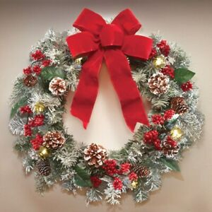 """18"""" Diameter Lighted Frosted Pine & Berries w/ Big Red Bow Christmas Wreath"""