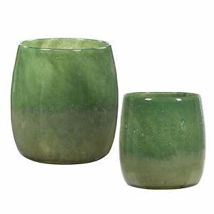 Elegant Modern Sage Moss Green Vase Set 2 Art Glass Seeded Round Mid Century