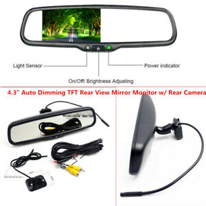 """4.3""""Auto Dimming TFT LCD Rearview Mirror Monitor Rear Camera Night Vision Safely"""