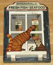 VINTAGE WOOD PAINTED CATS WALL PICTURE
