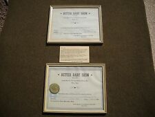 PAIR Antique Wood Picture Frames w/ VFW Texas Baby Pageant Certificates Ca. 1949