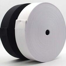 STRETCH FLAT ELASTIC Black&White- ¼,½,¾,1,1¼,1½,2 inch- PREMIUM GRADE UK Seller✔