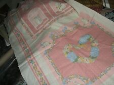 Vintage Weilwood Industries Fabric Panel-Pillows/Quilt Blocks-Pinks-Animals/Hear