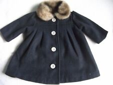 Baby Girl 0-3mnths Mamas & Papas Dark Blue Polyester Coat with Fake Fur Collar