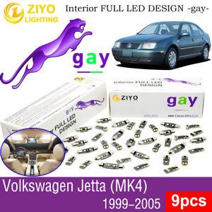 9 Bulbs Deluxe White LED Interior Light Kit For 1999-2005 MK4 Volkswagen Jetta