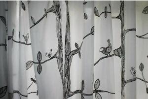 """IKEA EIVOR Curtain Panel Set 2 -  57"""" X 98"""" -  Kajsa Aronsson - New White/Black"""
