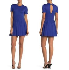 Velvet Torch Women's Small Solid Cobalt Blue Fit And Flare Mini Beach Dress NWT