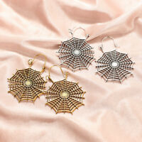 Fashion Women Big Statement Spiderweb Gold Silver Plated Drop Dangle Earrings