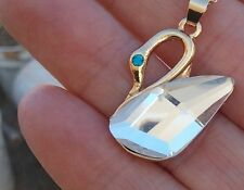 """swan crystal austrian necklace 14k gold filled 1"""" long/chain 19"""" long"""