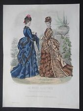 GRAVURE  MODE 19e - MODE ILLUSTRÉE - TOILETTES MME BREANT 1873 - GRAND FORMAT