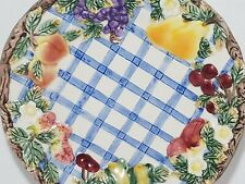 "Fitz & Floyd Fruit Floral Weave Farmhouse Country Decor Pattern 8"" Plate 1994"