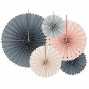 5 Grey & Blush Rosette or Fan Paper Decorations