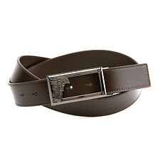 GIANNI VERSACE COLLECTION VERSUS Medusa Open Buckle Leather Belt SIZE 90 BROWN