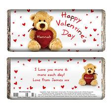 PERSONALISED VALENTINES DAY GIFT - Cute Teddy Bear Chocolate Bar fun present