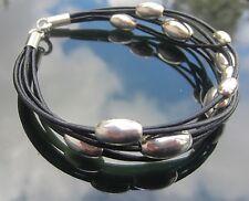 Cordón de cuero Negro Pulsera Con Oval Perlas Plata Esterlina 925 Extremos Y Broche