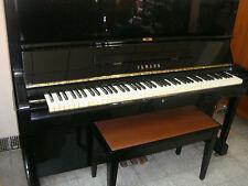 "Yamaha 48"" Upright Piano (U1H from 1980s;  Ebony finish;  Made in Japan) + Chair"