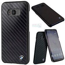 Bmw de carbono real protectora para Samsung Galaxy s8, funda rígida back cover case logo negro