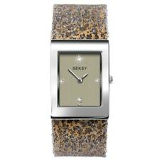 Seksy Rocks Rhodium Leopard Print Swarovski Crystal Ladies Watch 2851