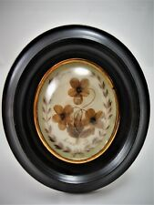 Antique French Rare  Hair Mourning  Art in Oval  Wood Frame 1880's (ref/A19/29)