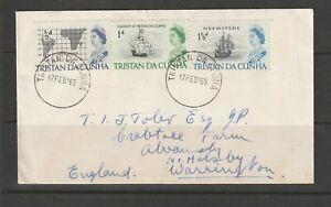 Tristan da Cunha 1965 Plain FDC, Ships, 1/2d to 1 1/2d, to UK, cheap rate