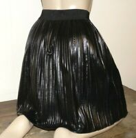 jupe TU superbe plissée vinylée noir neuf pleated leather skirt mistress 440!