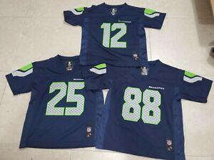 Lot of 3 NFL Football Jersey Seattle Seahawks Wilson Boys L/M