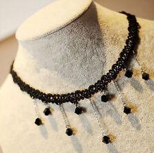 Black Lace Chain Gothic Victorian Choker  Collar Tassel Jewelry Necklace Pendant