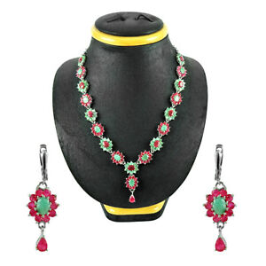 Ruby Emerald Natural Gemstone Necklace Earring Jewelry Set 925 Sterling Silver