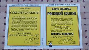 LOT 2 AFFICHES ORIGINALES PRÉSIDENTIELLE COLUCHE 1981 NEUF