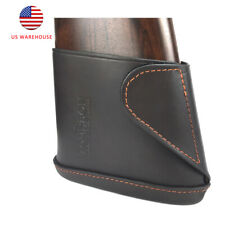 Tourbon Real Leather Rifle Recoil Pads Slip-on Buttstock Protect Hunting Shotgun