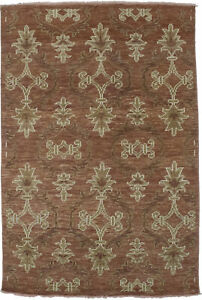 Rust Hand-Knotted Modern Floral Design 4X6 Home Decor Oriental Area Rug Carpet