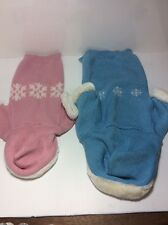 Dogs, Cats, Pigs Winter Sweater Outfits Clothing. Med & Large. Pink and Blue