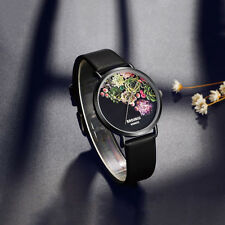 Women Ladies Fashion Chic Black Flower Wrist Watch Leather Analog Quartz Watch