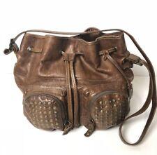 Frye Bag Hobo Vintage Distressed 100% Real Leather Studded Handbag Purse Large