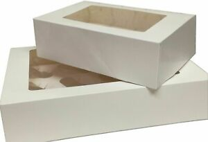 WHITE CUPCAKE BOXES WITH WINDOW - 6 HOLE/CAVITY, 12 HOLE/CAVITY