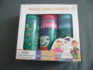 Snow Chalk Marker Writing Drawing 3pc Set New Winter Gift Boy/Girl Art/Craft