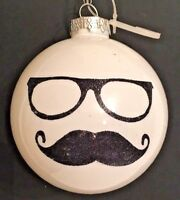 "MUSTACHE Black Glitter White Glass Ball 3.5 "" Christmas Tree Ornament"