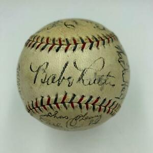 Stunning Babe Ruth & Lou Gehrig 1929 New York Yankees Team Signed Baseball JSA