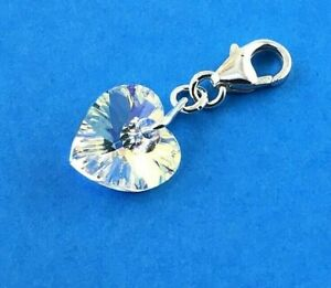 Sterling Silver Swarovski 10mm Crystal Heart clip on Charm all Rings Soldered