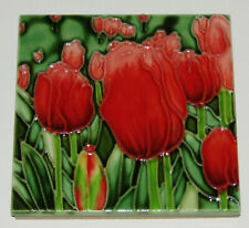 """Red Tulips Art Tile 4""""x4"""" Decorative Ceramic New Flowers Sd-162"""