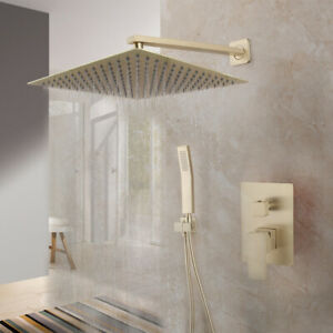 """12 """" Brushed Gold  Bathroom Shower Heads Wall Mounted Gooseneck Arm Mixer Faucet"""