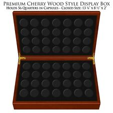 Deluxe Heirloom Cherry Wood Style Coin 56-Coin Display Box for State Quarters